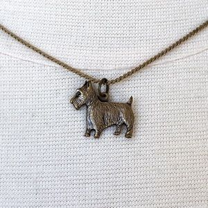 Terrier Dog Charm Choker Necklace Vintage Look